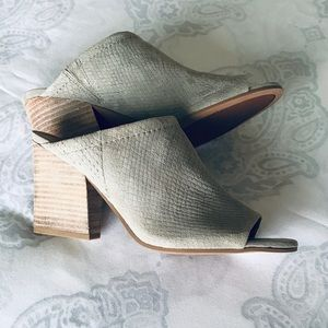 FRANCO SARTO | TEXTURED SUEDE OPEN-TOE MULES. NWOT